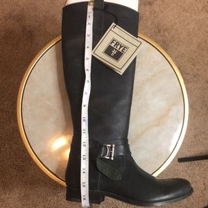 Frye distressed black leather riding boots NWT